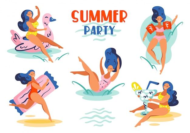 Letnia impreza. zestaw młodych uśmiechniętych dziewcząt o niebieskich włosach w strojach kąpielowych. letnia nadmorska impreza przy basenie.