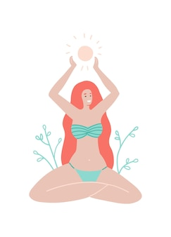 Letnia kartka z życzeniami dziewczyna z długimi włosami w stroju kąpielowym siedzi w pozycji lotosu i trzyma słońce w ramionach