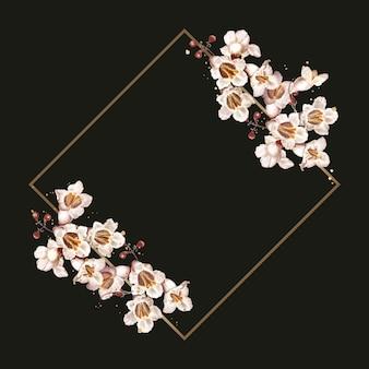 Letnia katalpa złota rama akwarela ilustracja