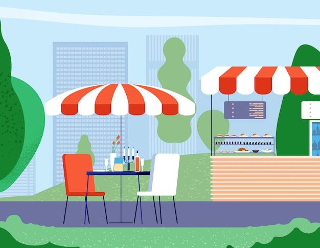 Letnia kawiarnia na świeżym powietrzu. pusty stół i fotel pod parasolem w ulicznej kawiarni. tło wektor restauracja bistro