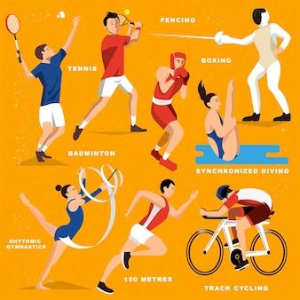 Letnia kolekcja gier sportowych w stylu płaski
