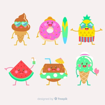 Letnia kolekcja postaci w stylu kawaii
