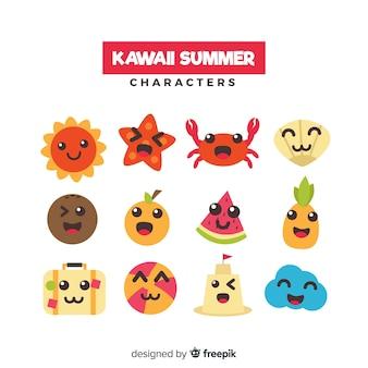 Letnia kolekcja postaci z kawaii