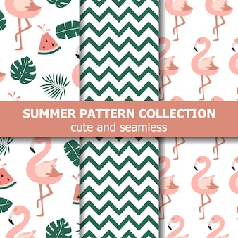 Letnia kolekcja wzorów. motyw flaminga i arbuza, transparent lato. wektor