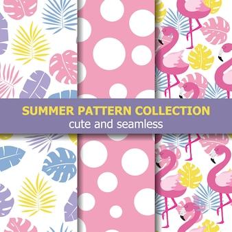 Letnia kolekcja wzorów. motyw flaminga, transparent lato. wektor