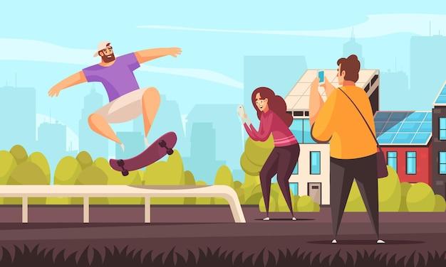 Letnia kompozycja deskorolki sportowej z odkrytym pejzażem miejskim i stylem doodli kaskaderskiej postaci deskorolkarza z ilustracjami ludzi