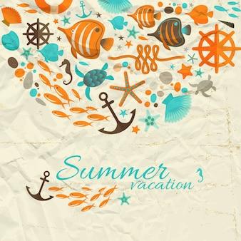 Letnia kompozycja wakacyjna z morskimi dekoracyjnymi ilustracjami na pomarszczonym papierze