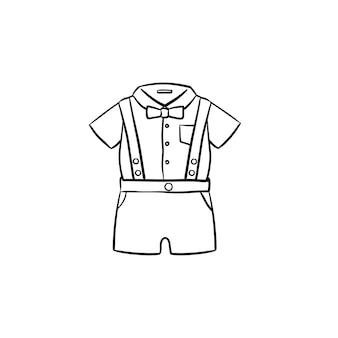 Letnia koszulka dla dzieci i szorty odzież ustawić ręcznie rysowane konspektu doodle ikona. ilustracja szkic wektor odzieży dla dzieci do druku, sieci web, mobile i infografiki na białym tle.