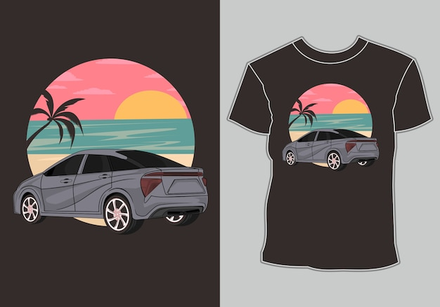 Letnia koszulka, klasyczne, vintage, samochody retro są na plaży