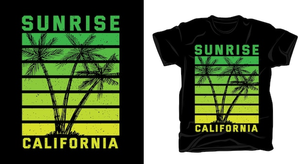 Letnia koszulka z typografią sunrise california