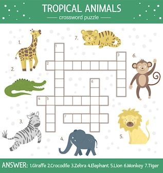 Letnia krzyżówka dla dzieci. prosty quiz ze zwierzętami tropikalnymi dla dzieci. edukacyjna aktywność w dżungli z uroczymi zabawnymi postaciami
