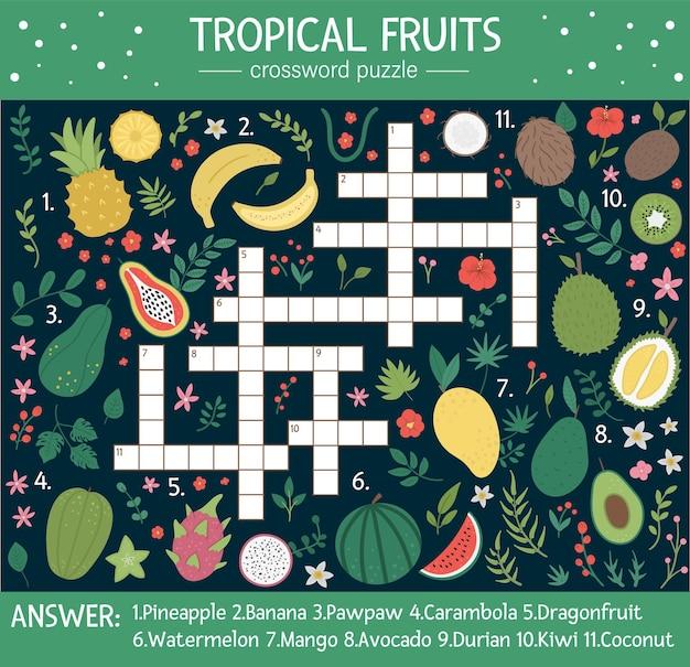 Letnia krzyżówka dla dzieci. quiz z owocami tropikalnymi dla dzieci. edukacyjna aktywność w dżungli z uroczymi elementami jedzenia