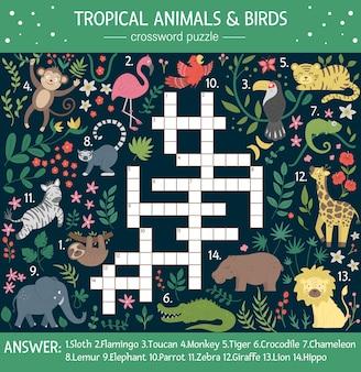Letnia krzyżówka dla dzieci. quiz z tropikalnymi zwierzętami i ptakami dla dzieci. edukacyjna aktywność w dżungli z uroczymi zabawnymi postaciami