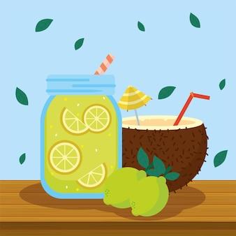 Letnia lemoniada i koktajl kokosowy