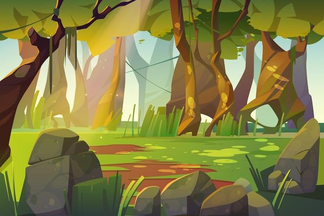 Letnia leśna polana z zieloną trawą.