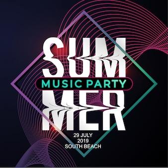 Letnia muzyka party plakat szablon z nowoczesnym stylu neon