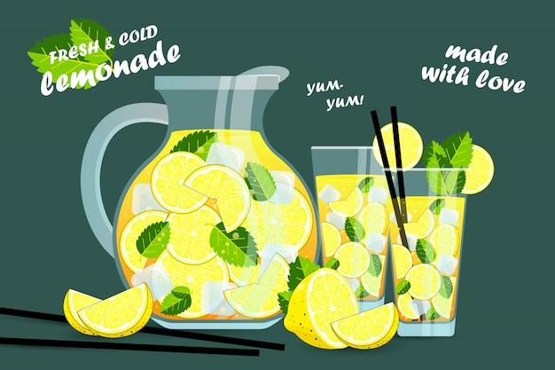 Letnia napój lemoniada. duży dzbanek i szklanka lemoniady. ręcznie rysowane lemoniady. napój bąbelkowy sok z cytryny z etykietami i typografią