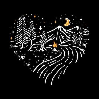 Letnia noc wakacyjna linia graficzna ilustracja sztuka t-shirt projekt