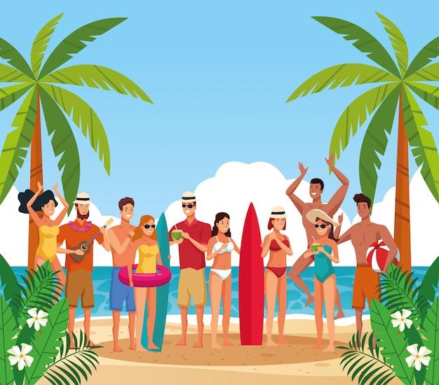 Letnia plaża i ludzie na wakacjach bajki