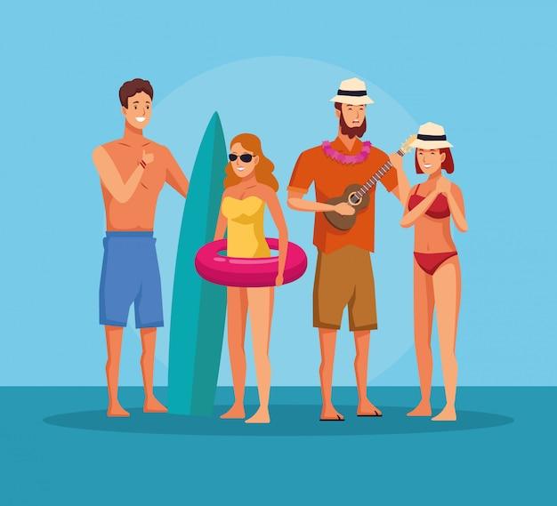 Letnia plaża i ludzie