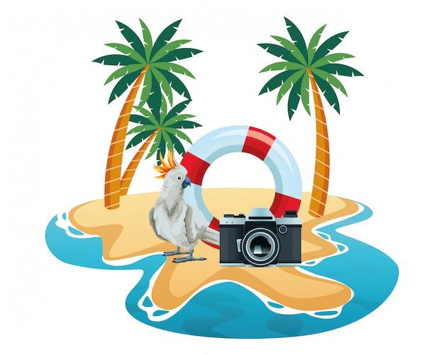 Letnia plaża i wakacje kreskówka