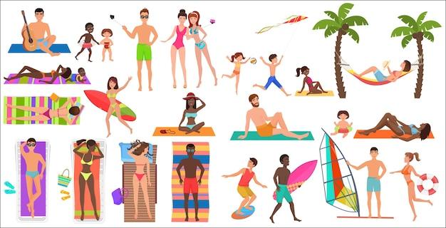 Letnia plaża kreskówka relaksujący ludzie zestaw ilustracji