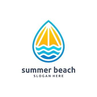 Letnia plaża nowoczesne logo wektor