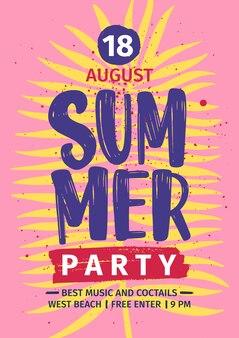 Letnia plaża party zaproszenie lub plakat szablon z napisem odręcznie przeciwko żółty liść egzotycznego palmy na różowym tle. ja