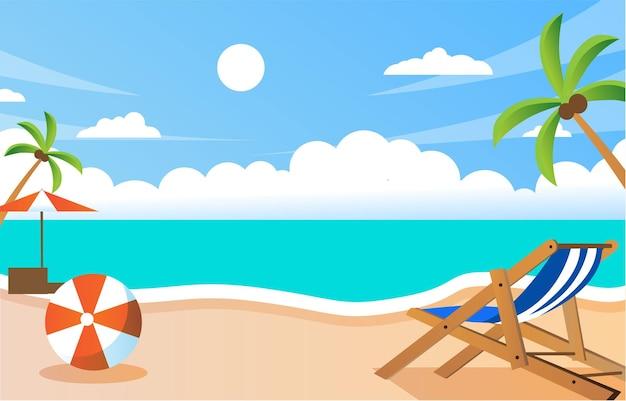 Letnia plaża w tle