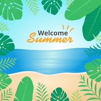 Letnia plaża z kwiecistą ramą ilustracja transparent tło