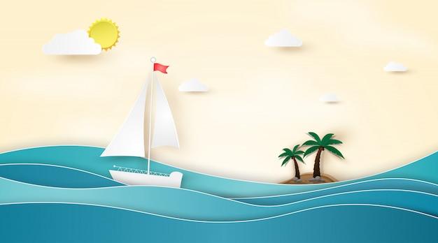 Letnia plaża z łodziami pływającymi po morzu.