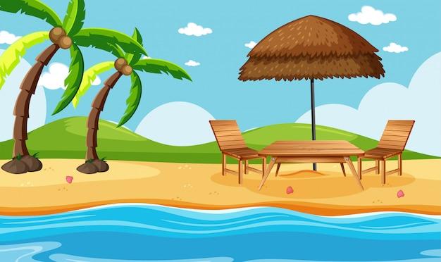 Letnia plaża ze sceną drzew kokosowych
