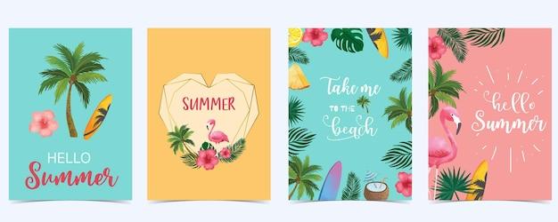 Letnia pocztówka akwarela z flamingiem, drzewem, owocami