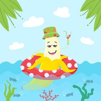 Letnia postać bananowa pływa nadmuchiwany krąg letni koktajl panamy z postacią żółty uśmiechnięty