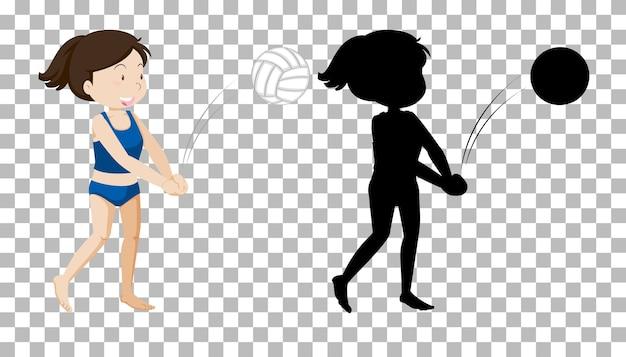 Letnia postać z kreskówki na przezroczystym tle i jego sylwetka