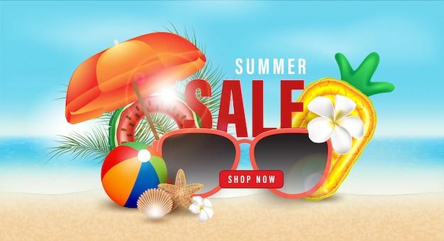 Letnia promocja sprzedaży zakupy, letnia promocja, wakacje na plaży, szablon transparent tło w stylu 3d