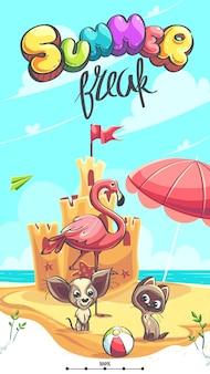 Letnia przerwa wektor ilustracja flamingo szczeniak kociak na brzegu morza przed zamkiem z piasku
