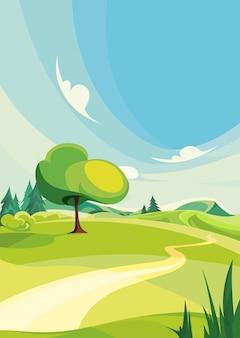 Letnia scena na świeżym powietrzu. krajobraz przyrodniczy w orientacji pionowej.