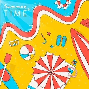 Letnia sceneria plaży ilustracja w stylu płaskiej linii