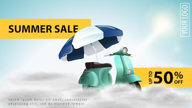 Letnia sprzedaż, lekki rabat szablon transparent www