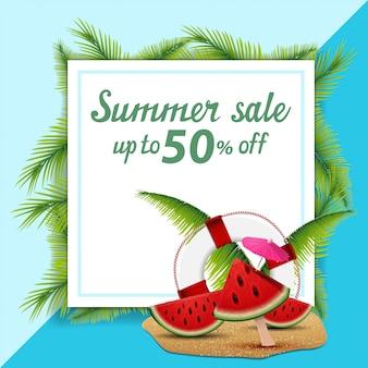 Letnia sprzedaż, szablon transparentu rabat w postaci kartki papieru zdobione liśćmi palmowymi