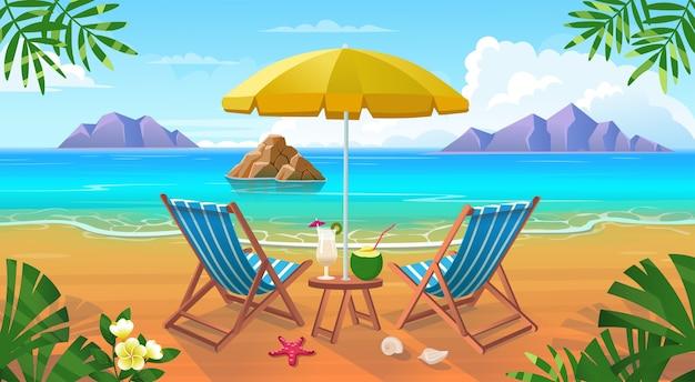 Letnia tropikalna plaża z leżakami, stołem z koktajlami, parasolem, górami i wyspami.