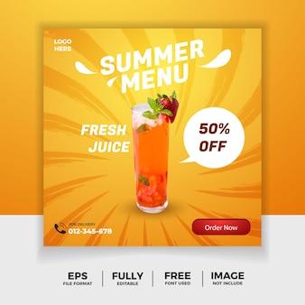 Letnia ulotka menu ze świeżymi napojami dla szablonu mediów społecznościowych