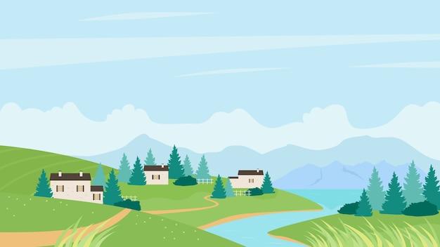Letnia wioska w pobliżu rzeki krajobraz lato naturalne tło panoramy
