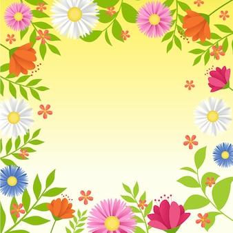 Letnia wiosna blooming flower nature ramka na świeżej zieleni