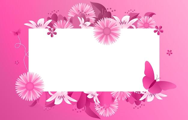 Letnia wiosna kwitnący kwiat różowa ramka