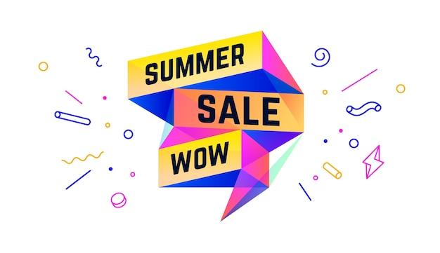 Letnia wyprzedaż. 3d sprzedaż baner z tekstem summer sale wow dla emocji, motywacji. nowoczesny kolorowy szablon sieci web 3d na czarnym tle. elementy projektu na sprzedaż, rabat.