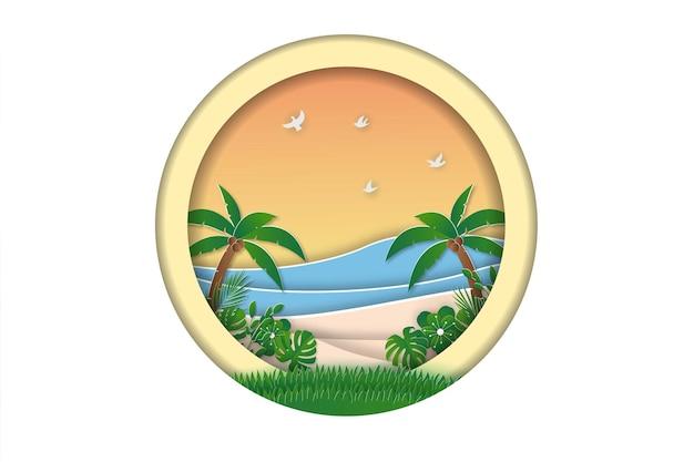 Letnia wyprzedaż baner plażowy w stylu papercut