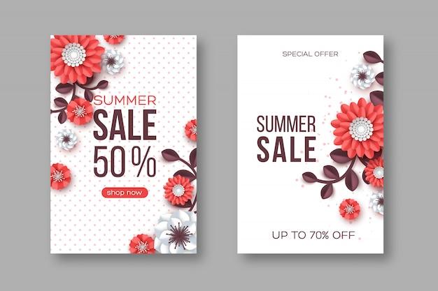 Letnia wyprzedaż banery z kwiatem wyciętym z papieru i kropkowanym wzorem. szablon sezonowych rabatów.