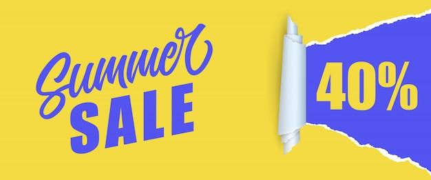 Letnia wyprzedaż czterdzieści procent napis. napis na zakupy w kolorach żółtym i niebieskim